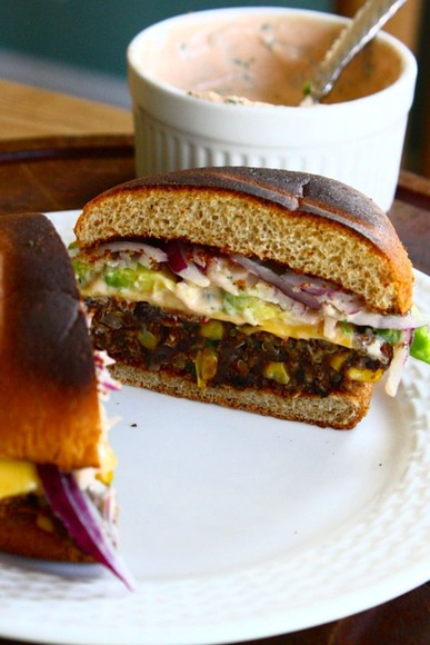 Black Bean, Quinoa & Sweet Potato Veggie Burgers